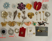 sale WAS 44.44 vintage LOT of 28 brooches Enamel Flower pins Butterflies Rhinestone Stick Pins Sarah Cov, Sterling, Ges Gesch, and unsigned