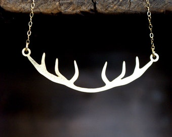 Antler Matte Gold Necklace -   Modern and Simple
