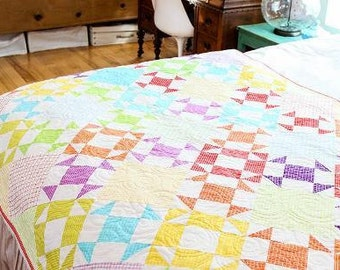 Modern Quilt, Lap Quilt, Throw Quilt, Churn Dash, Popsicle Summer Lap Quilt, Made to Order, BusyHandsQuilts