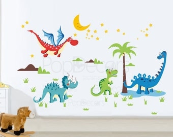 Repositionable Boys Printed Wall Decals Kids Wall Stickers Child Playroom  Wall Decors Kids Stickers  Dinosaurs Part 52