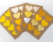 Yellow Hearts Blank Note Card