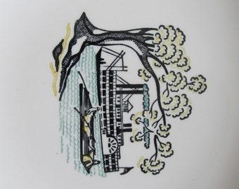Large Vintage River Boat Steamboat Serving Bowl - American Heritage Stetson Marcrest