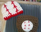 READY RUSH Baseball Softball hat and Diaper cover set outfit crochet Newborn Baby Slugger Sports Beanie Boy Girl 0-3 3-6 6-12 Mos Infant