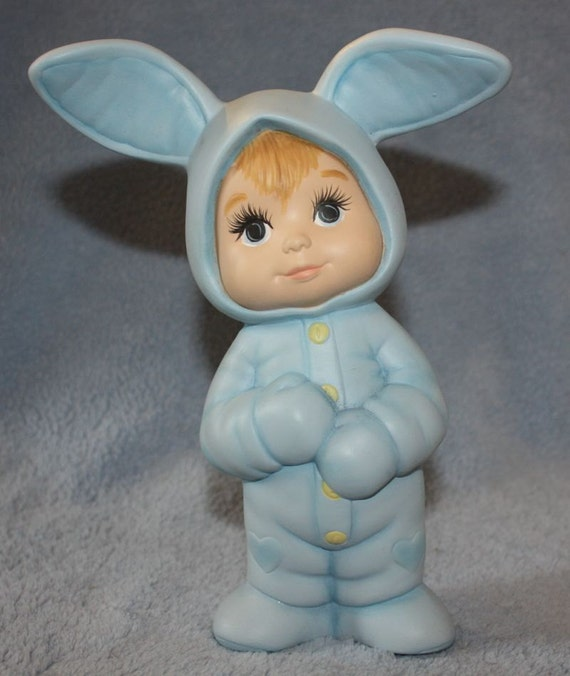 RESERVED FOR BONNIE - Handpainted Ceramic Adorable Baby standing and wearing a pink bunny suit