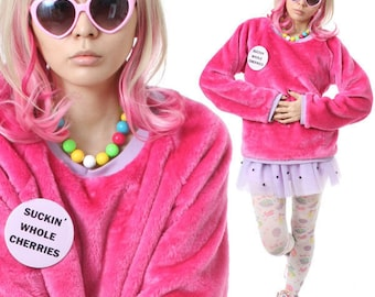 SALE 32.00 RTBU Decora Punk Hot Pink Pastel Purple Teddy Bear Faux Fur Furry Sweatshirt