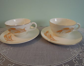 Vintage Two Duz Golden Wheat Teacups & Saucers - Duz Golden Wheat Teacups - Teacups Golden Wheat Pattern - Duz Teacups - Vintage Duz Teacups