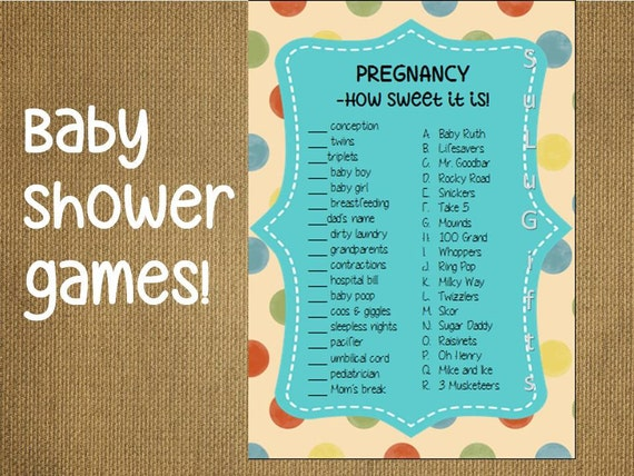 baby shower game candy bar game instant download printable pdf file