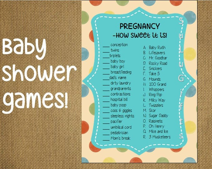 photo relating to Candy Bar Game Printable named Little one Shower Video game Sweet Bar Match Immediate Down load Printable PDF Record ~ Delighted Dots Layout Adorable Child Recreation Cute of enjoyable!