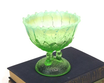 Antique Northwoods Glass footed compote - Hilltop Vines pattern - opalescent green antique art glass - decorative elegant glassware