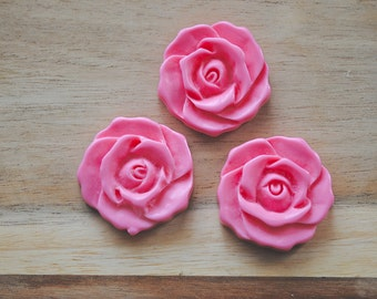 SALE -  Large Cabochon Resin Flower Charm / Pendant - Set of 3- Light Pink
