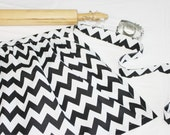 Black and White Chevron Ruffled Adult Apron