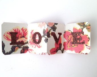 little book of love - love card - Valentine - red - Anniversary card - love token - wedding favor - Wedding card - pocket love