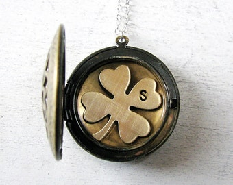 Graduation Gift, Initial Jewelry, Personalized Locket Necklace, Good Luck Charm, Clover Jewelry Shamrock Necklace, Personalized Jewelry