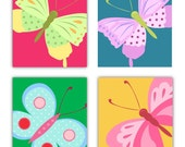 Art for kids Butterfly art prints for girls room decor, Set of Four  8x10 prints, nursery, or playroom, or as a gift
