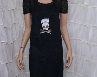 Chef Skull and Crossbones Embroidered Black Chef Apron MTCoffinz