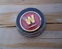 Vintage W Thick Plastic Badge or Button Finding Westinghouse?