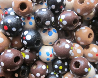Mixed Color Wood Beads Brown Black Round 13-14mm 14 Beads