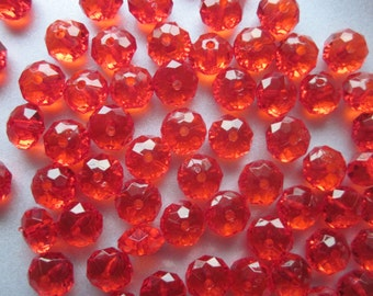Red Transparent Acrylic Beads 12mm 20 Beads