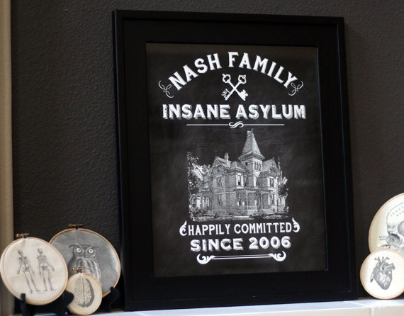 DIY Personalized Vintage Chalkboard Insane Asylum Halloween High Resolution Print