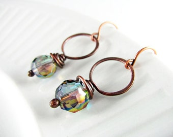 Wire Wrap Earrings Copper and Crystal Earrings Wire Wrapped Jewelry Copper Jewelry Hoop Earrings