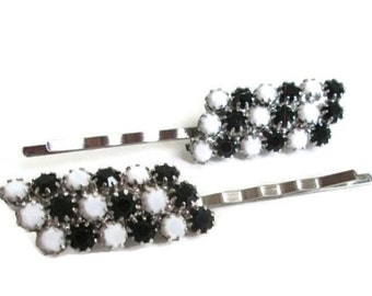Wedding Hairpins Black White Bridal Hair Jewelry Vintage Prom Fashion Crystal Clips