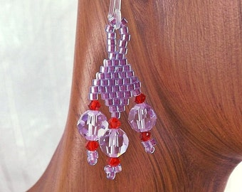 Purple and Red Seed Bead Earrings, 1 1/4 inch (3.1cm) Drops, Metal-Free Plastic Hooks (Can Be Changed to Metal Ear Wires), Chandelier Drops