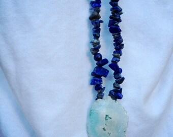 Mala, necklace, blue, lapis lazuli, stone, natural, gemstone, geode, crystal, quartz, long, layering, OOAK, unique-Breathe in the World