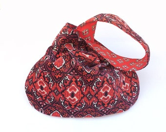 Fabric Handbag, Japanese Knot, Vintage Sueded Orange Canvas, Hobo Bag