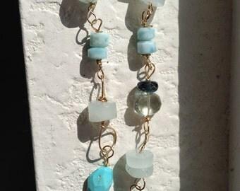 AAA Something Blue , Blue Pearl, Larimar, Peruvian Blue Opal, Green amethyst, London Blue topaz gold bracelet, lilyb444, etsy jewelry