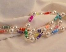 Handmade Beadwoven Necklace 10mm Swarovski Pearls Cream and Multi Color Silver Swarovski Crystals Womens Birthday Gifts