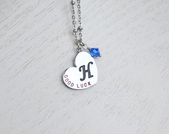 initial necklace,heart initial necklace,good luck necklace,graduation,christmas,personalized pendant,bridesmaid gift,silver monogram necklac