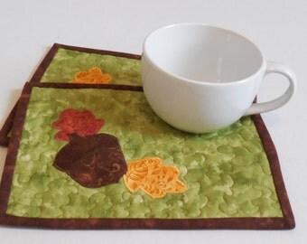 Acorn mug rugs-Set of 2-Reversible-Free Shipping to US and Canada