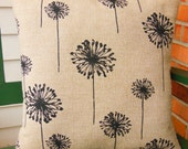 Beige Tan Black Dandelion Pillow COVER Throw Pillow Decorative Cushion One or More All Sizes Tan Natural Couch Pillow Burlap Cushion Bedding