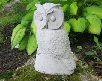 Owl, Concrete Garden Owls, 10 Inches Cement Owl, Owl Figures, Cast Stone Owl Garden Decor