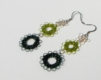 OOAK Peruvian Point Wire Crochet Dangle Earrings.