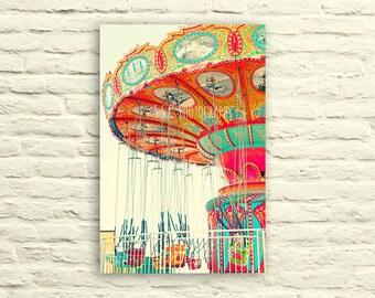 Carnival photography. Swings. canvas wall art. orange. mint blue. pink. nursery decor. santa cruz. bright art. colorful. vibrant. whimsical