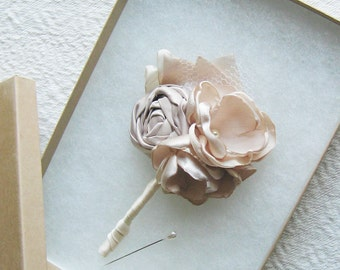 Fabric flower boutonniere to match wedding package . fabric rose rosette flowers