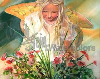 """Gold Wing Fairy Girl Pixie Dust Dew on Pink Petunia Flowers Fantasy Children Watercolor Painting Print, Wall Art, Home Decor, """"Faire Dawn"""""""