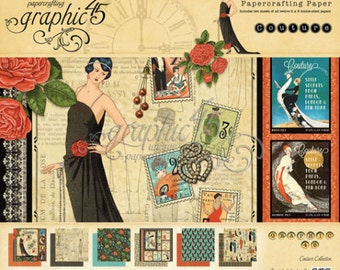 """RETIRED! Graphic 45 Couture 8"""" x 8"""" Paper Pad"""
