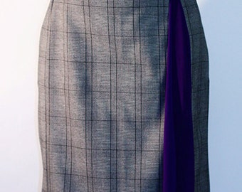 Woven Pencil Skirt w/ Scarf Godet