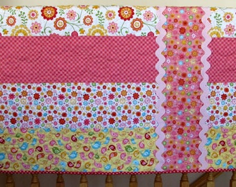 """Christmas SALE Hello Sunshine Pink, Yellow, Orange, Red, Aqua and Green With Large Ric Rac Girl Quilt--39"""" x 49"""""""
