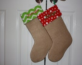 Burlap stocking with decorative cuff and monogramming