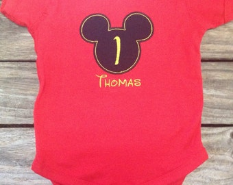 Mickey Mouse Inspired Birthday Bodysuit or Shirt