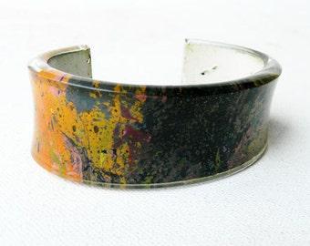 Vintage 1960s Lucite Enamel Splatter Cuff Bracelet