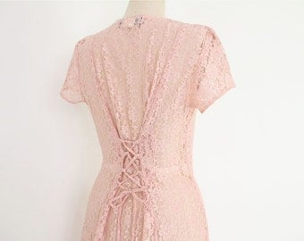 Grunge Lace Dress, 80s 90s Pink Sheer Boho Granny Corset lace up cinched waist short sleeve hipster riot girl revival midi maxi sundress