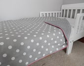 Deluxe Toddler Blanket in Grey Polka Dots with Grey Minky and Hot Pink Piping