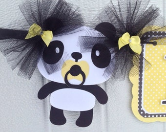 Panda baby shower, panda banner, yellow decorations, panda decorations, gender neutral banner, gender reveal banner, photo prop