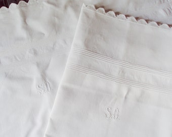 Antique French Handmade Linen Pillowcases Pillowshams Cutwork Monogram SO Pintucks Scalloped Edge Handmade Buttonholes