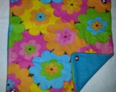 Hawaiian Flowers on Teal Fleece Hammock for Ferrets, Rats, Chinchillas, Sugar Gliders or Small Animals