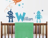 Wall Decals Rocket, Robots, Stars and Personalized Name with Monogram Decal   - Nursery Kids Wall Decor